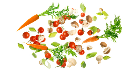 Flying vegetables isolated on a white background. 写真素材