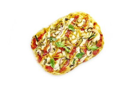 Roman square vegetarian pizza isolated on white background, top view Stockfoto