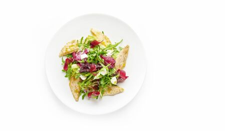 Fresh vegetable salad with chicken breast on white plate, top view, copy space