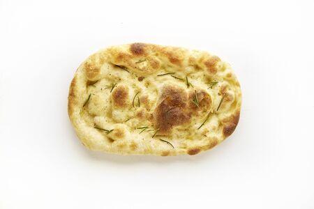 Crispy fresh focaccia with rosemary on white background