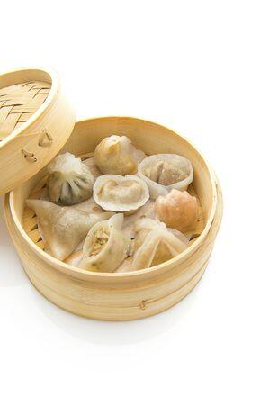 Steamed dumplings Dim Sum in bamboo steamer