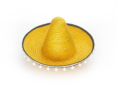 Mexican sombrero hat isolated on white