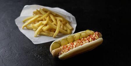 Hotdog with french fries on a dark background