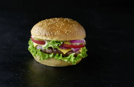 Delicious fresh home made burger with lettuce, cheese, onion and tomato on a rustic dark background