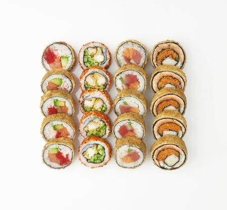 Japanese food restaurant, sushi maki gunkan roll plate or platter set. California Sushi rolls with salmon