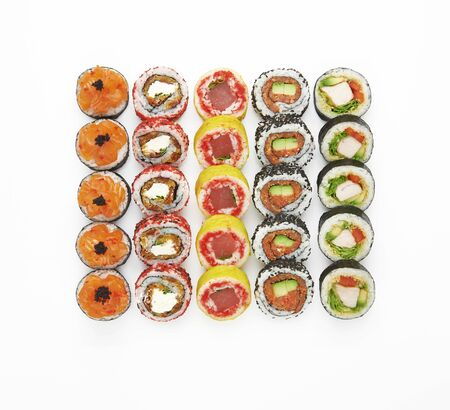 Sushi roll set isolated on white background. Top view, flat lay