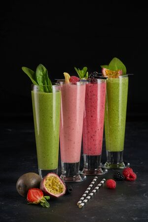 Variety of vegetables detox smoothie with fruit and vegetables