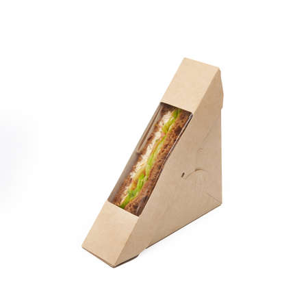 Sandwich toast with tuna and cheese in a craft take away paper box isolated on white background, delivery, eco friendly, disposable, recyclable fast food concept Banque d'images