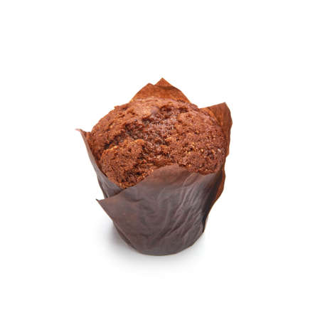 Chocolate muffin cake in brown paper isolated on white background