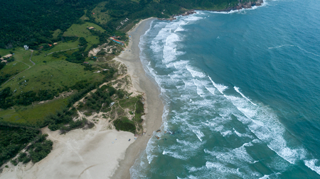 Coastlines: Aerial View of Luz's Beach, Imbituba, Brazil Banco de Imagens - 100859828