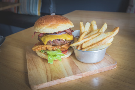spanish onion: Beef Burger  Breaking Bad Stock Photo