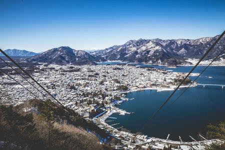 ropeway: Lake Kawaguchi Ropeway Stock Photo