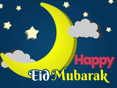 Happy Eid Mubarak Greeting Card Simple Background. Simple and Flat Background With Moon on The Night Sky.