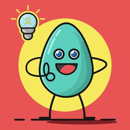Simple Flat Mascot Design of Smart Eggy . Flart Illustration of Getting New Idea
