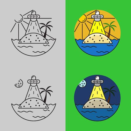 Simple Lineout Logo Design. Simple Logo of UFO Island with Four Variations. Simple Coloured Travelling Logo .