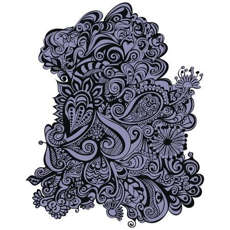 en: Doodlebeast bestaande uit lijnen, rondingen, krullen, golven en organische vormen. De illustratie bestaat uit 2 lagen, 1 voor de zwarte outlines en 1 voor de gekleurde vulling.