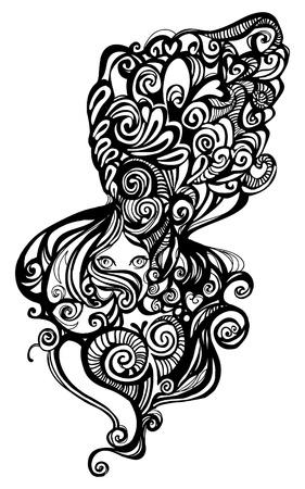Prachtige vrouw, haar hoofd is rijkelijk versierd met krullen, veren en abstracte versiersels. Illusztráció