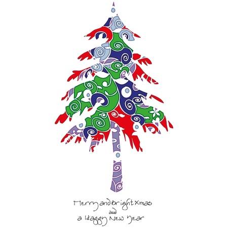 Tribal Baum Oder Weihnachtsbaum Mit Ornamenten Und Lockig Zweigen ...