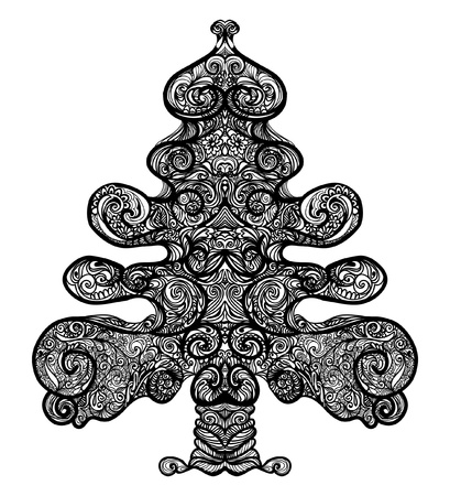 tribal tree or christmas tree, filled with ornaments and curly branches. hand-drawn illustration.