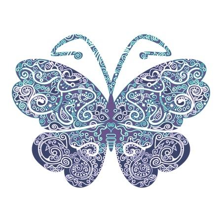 Gedetailleerde illustratie van een vlinder in pastelkleuren. Alle kleuren in verschillende lagen om makkelijk aan te kunnen passen aan uw eigen wensen.