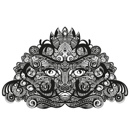 descent: Zeer gedetailleerde vector illustratie van een gezicht als masker.