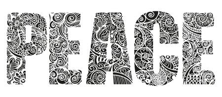 Rijk versierde en gedetailleerde illustratie van de letters die het woord PEACE vormen.