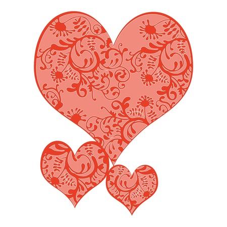 Vector illustratie van 3 harten in romatische kleuren, alle kleuren in een aparte laag om makkelijk aan te kunnen passen.