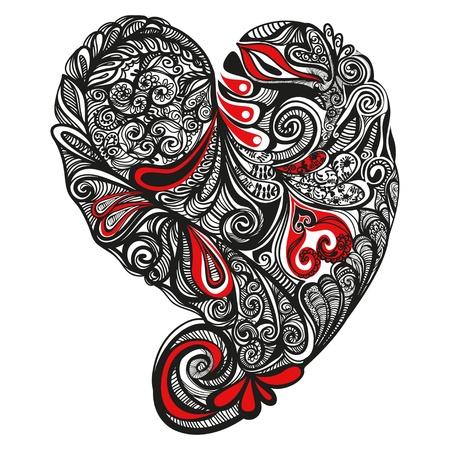 Sierlijke gedetailleerde Vector illustratie van 1 hart, de kleuren staan in een aparte laag om makkelijk aan te kunnen passen.