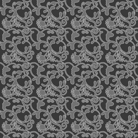 Naadloos achtergrond patroon, botanisch met krullen en bloemen, in 2 kleuren grijs op een donkere achtergrond