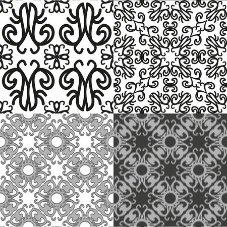 Vier naadloze achtergrond patronen in zwart op een witte achtergrond Illustration