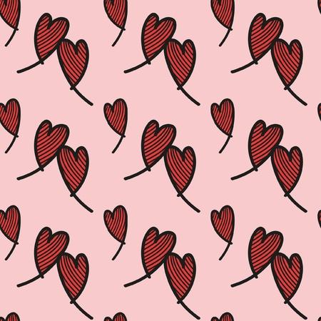 Naadloos patroon van harten  zeer geschikt voor valentijns dag, zwart met rood en roze Illustration
