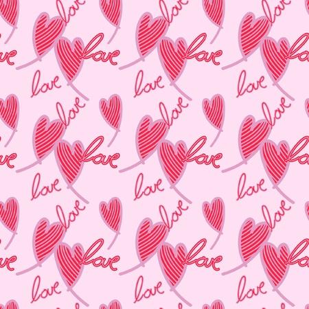 Naadloos patroon van harten met de tekst love zeer geschikt voor valentijns dag, hoofdkleur is roze Illustration
