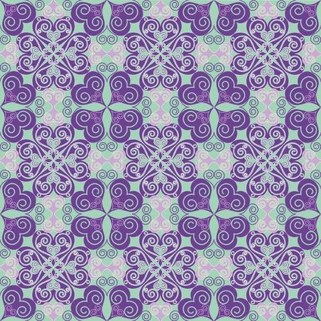 Naadloos achtergrond patroon met harten en sierlijke vormen Stock Vector - 11656030