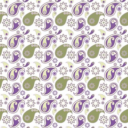 Naadloos achtergrond patroon met Paisley design op witteachtergrond Illustration