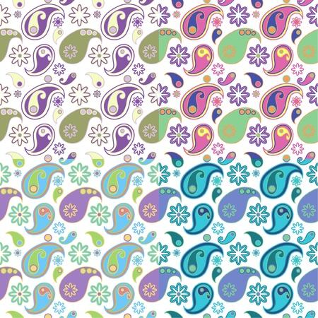 Naadloos achtergrond patroon met Paisley design in vier kleursamenstellingen