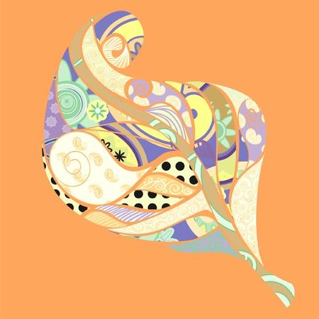 Gedetailleerde illustratie, blad vorm versierd met verschillende dessins