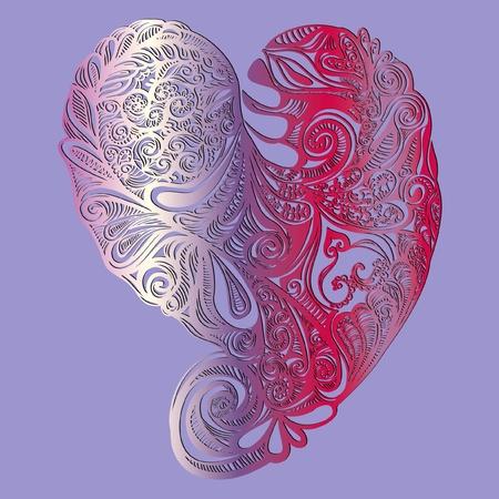 Gedetailleerde illustratie, hart versierd met krullen, valentijnskaart Illustration