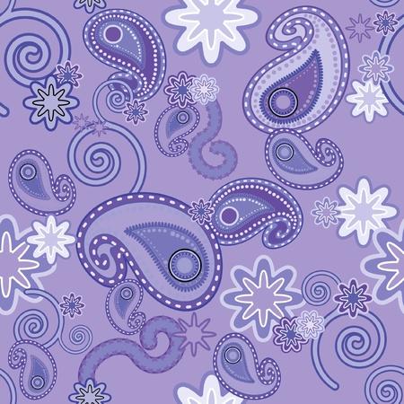 Naadloos achtergrond patroon met paars Paisley design