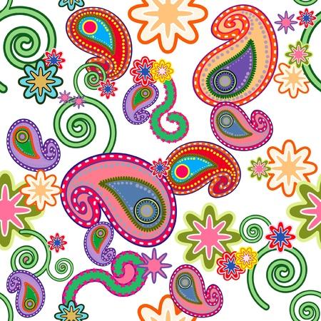 Naadloos achtergrond patroon met bont gekleurd Paisley design  Stock Vector - 11656107
