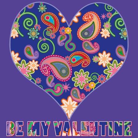 Fel gekleurd, versierd hart op paarse achtergrond, met tekst : BE MY VALENTINE Illustration