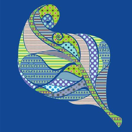 detailed illustration of a multi colored bright leaf Illustration