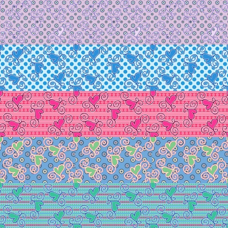 seamless heart pattern in different combinations on separate layers Illustration