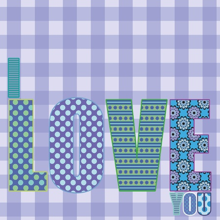 Design for valentines card, with the word LOVE, all on separate layers for easy adjustments Illustration