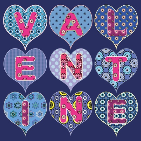 Blue design for valentine card on separate layers