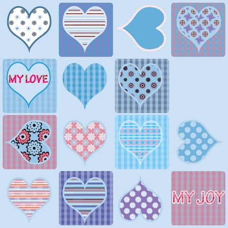 Light blue design for valentine card on separate layers
