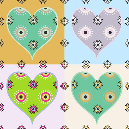 seamless heart pattern, four color combinations on separate layers