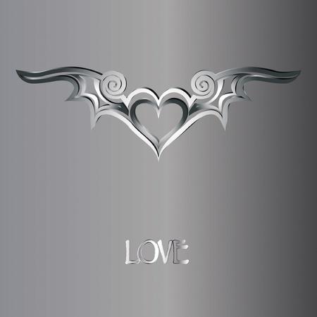 Valentijnskaart met zilveren hart met vleugels en de tekst LOVE