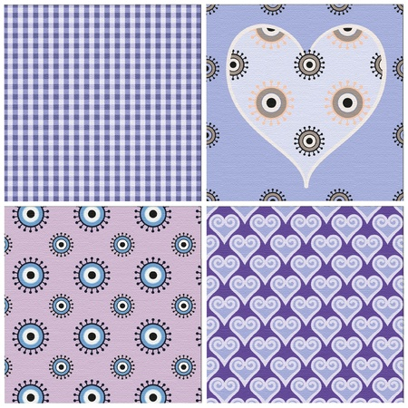 set of 4 seamless patterns Illustration