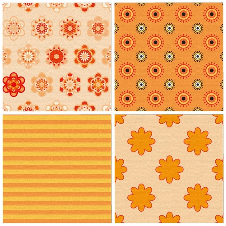 colored paper: set of 4 seamless patterns Illustration
