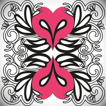 Illustration of a heart with wings, tribal tattoo style